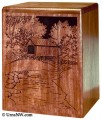 Covered bridge vertical cremation urn