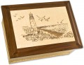 Wood Urn with Lighthouse | Seacoast Urn