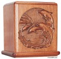 mahogany dolphin cremation urn